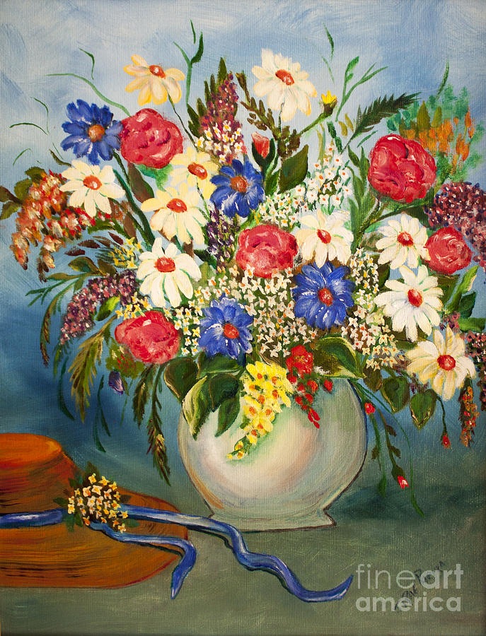 Summer Painting - Grandmas Hat And Bouquet by Janice Rae Pariza