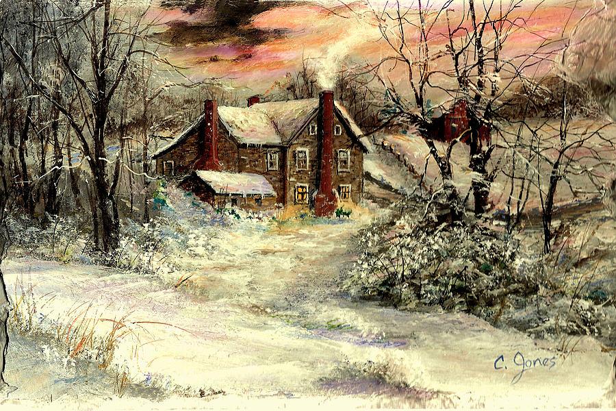 Christmas Painting - Grandmas House by C Keith Jones