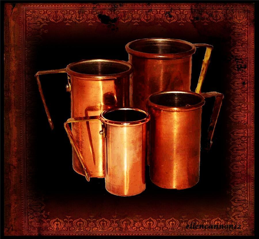 Vintage Photograph - Grandmas Kitchen-copper Measuring Cups by Ellen Cannon