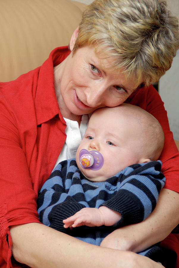 Human Photograph - Grandmother And Baby by Aj Photo/science Photo Library