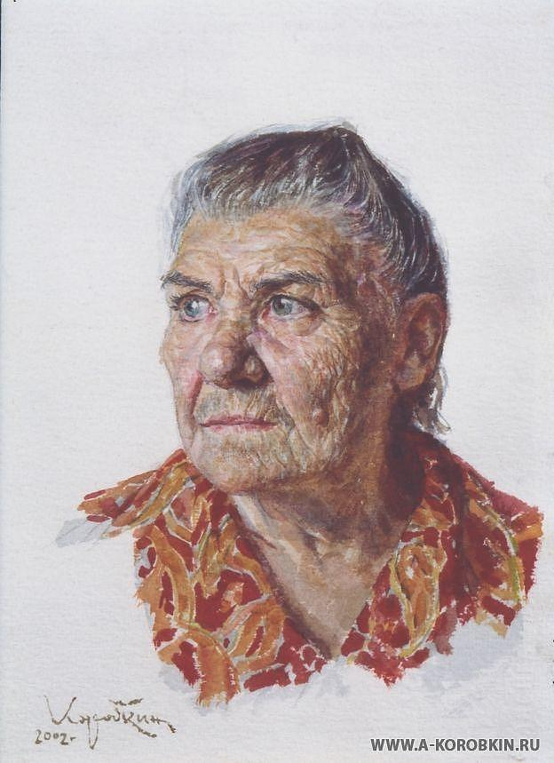 Portrait Painting - Grandmother by Korobkin Anatoly