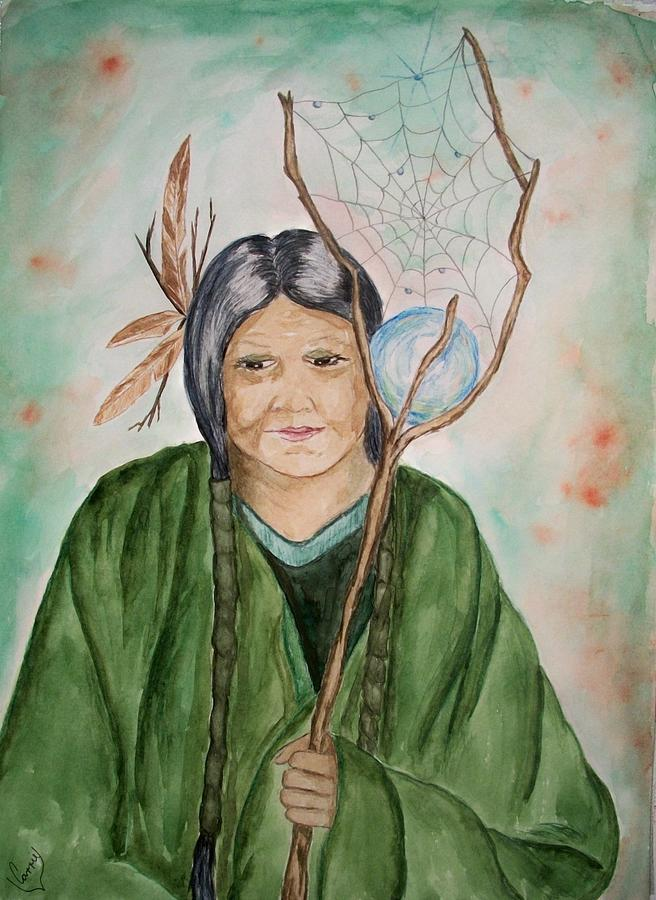 Goddess Painting - Grandmother Spiderwoman by Carrie Viscome Skinner
