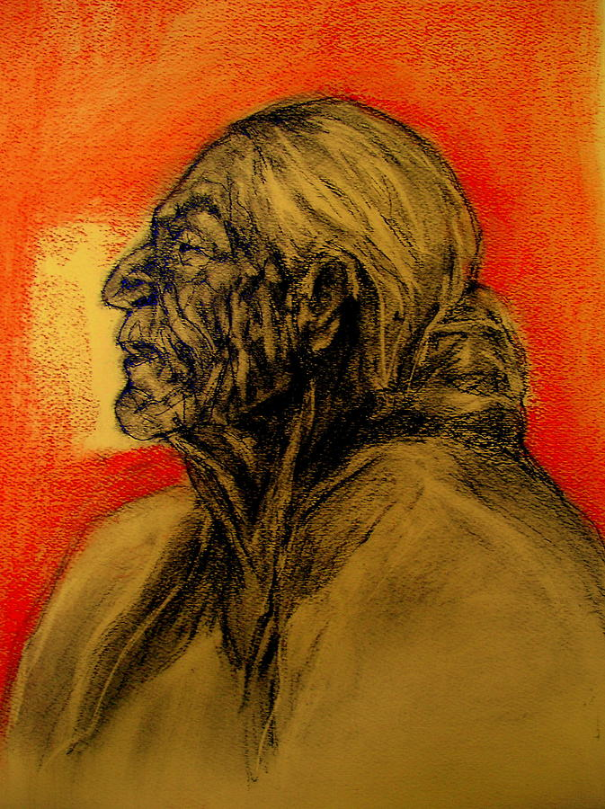 Grandmother Tells The Stories Drawing by Johanna Elik