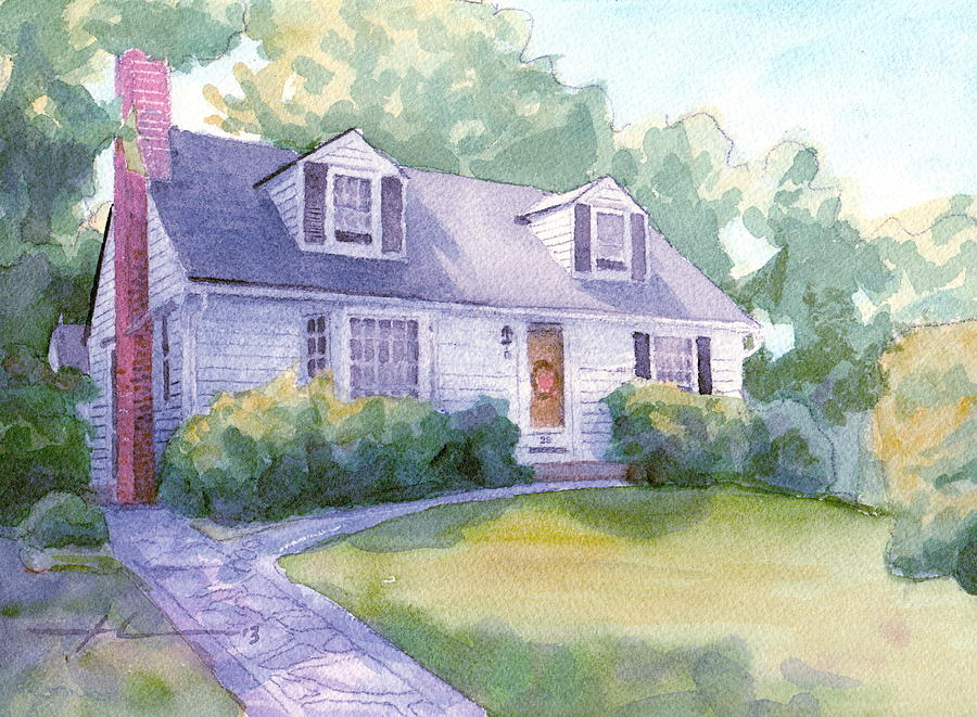 Grandmothers Cottage Watercolor Portrait Drawing by Mike Theuer
