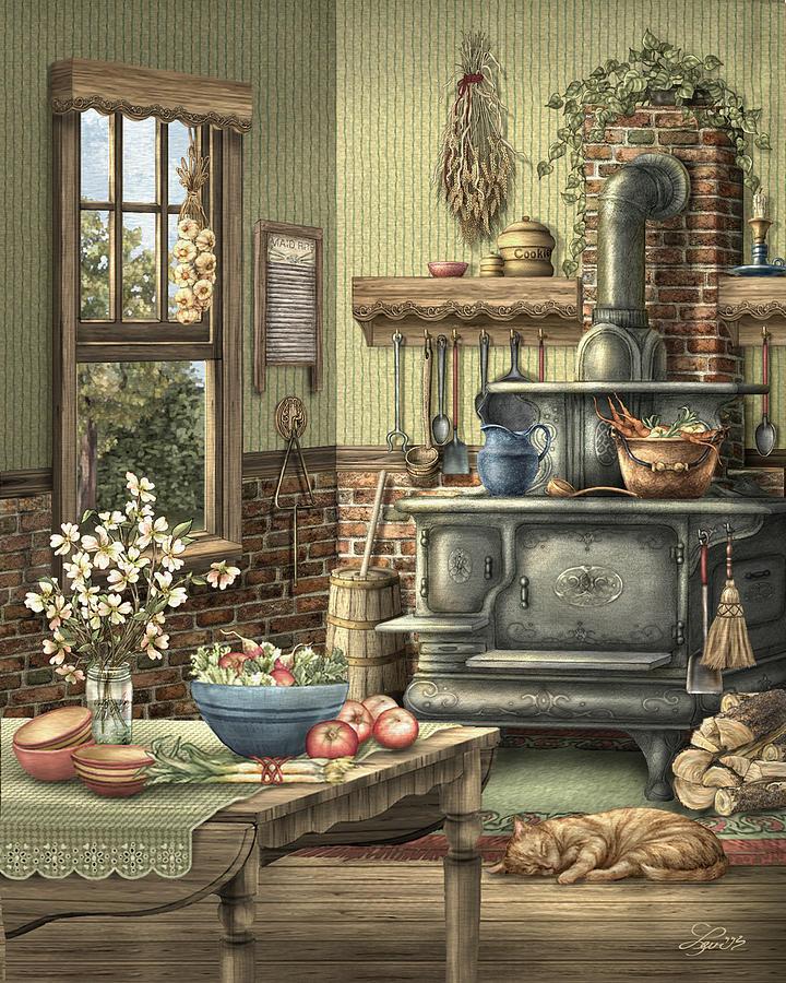 Kitchen Art America Inc: Grandmother's Kitchen Painting By Beverly Levi-Parker