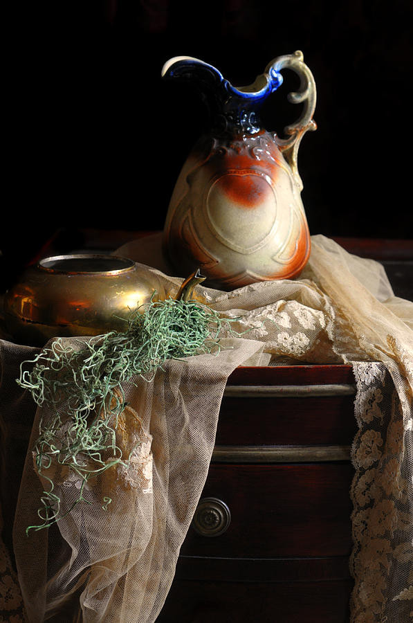 Still Life Photograph - Grandmothers Lace Cloth by Diana Angstadt
