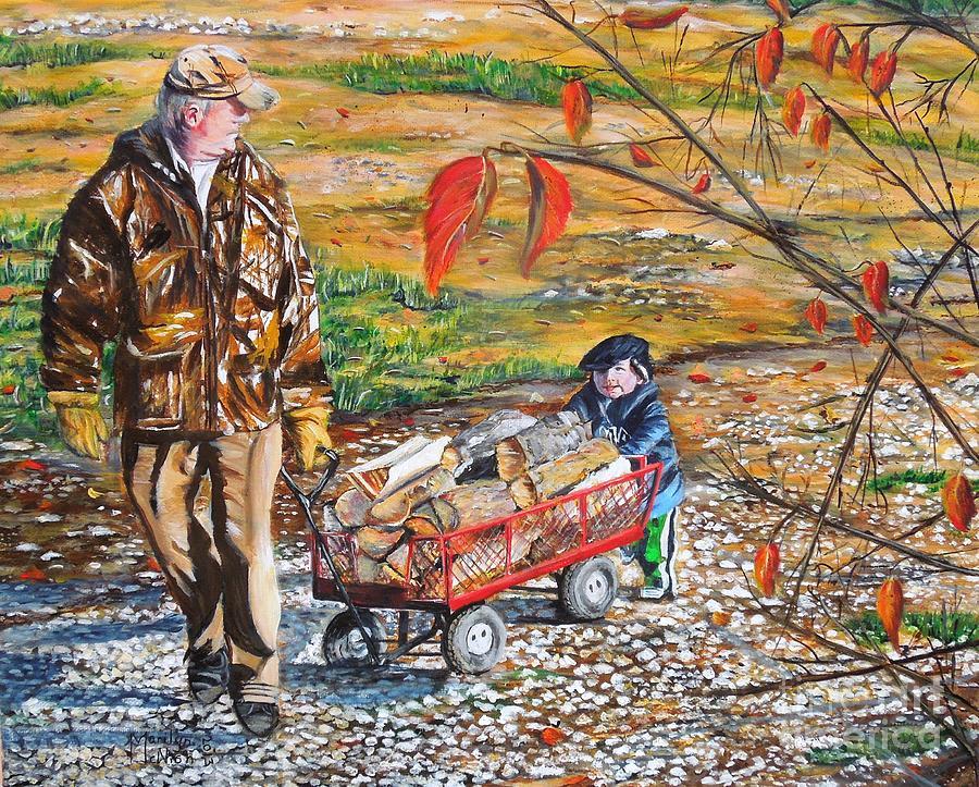 Grandpa Painting - Grandpas Helper by Marilyn  McNish