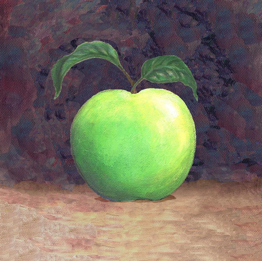 Apple Painting - Granny Smith Apple Two by Linda Mears