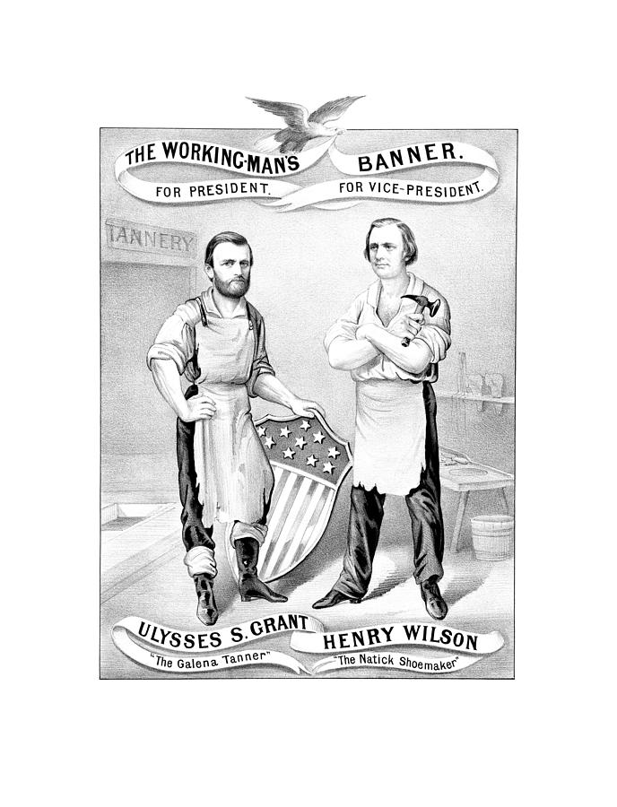 Ulysses S Grant Drawing - Grant And Wilson 1872 Election Poster  by War Is Hell Store