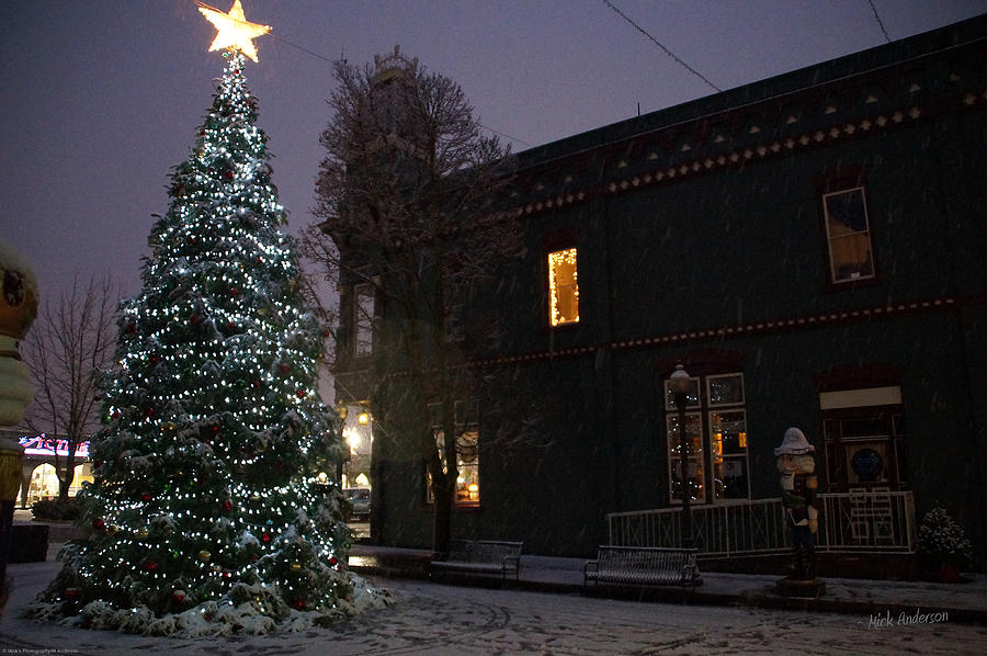 Lights Photograph - Grants Pass Town Center Christmas Tree by Mick Anderson