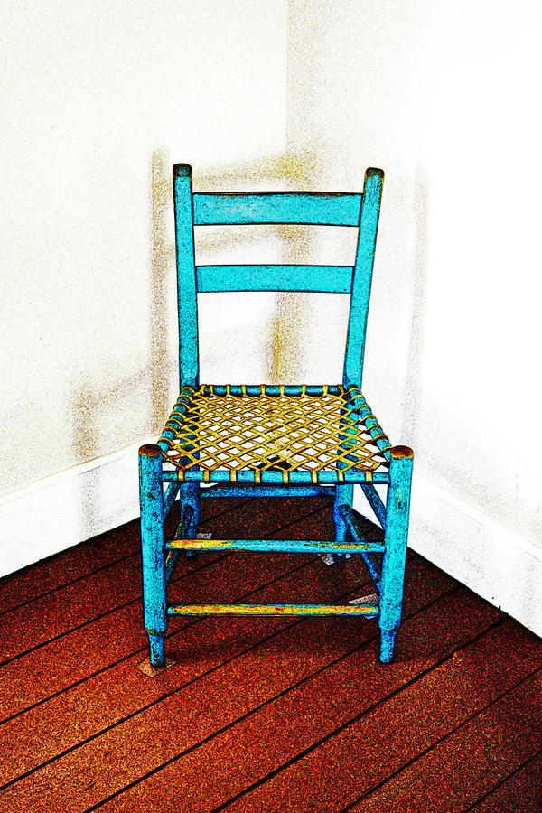 Chair Photograph - Granular Blue by Holly Blunkall