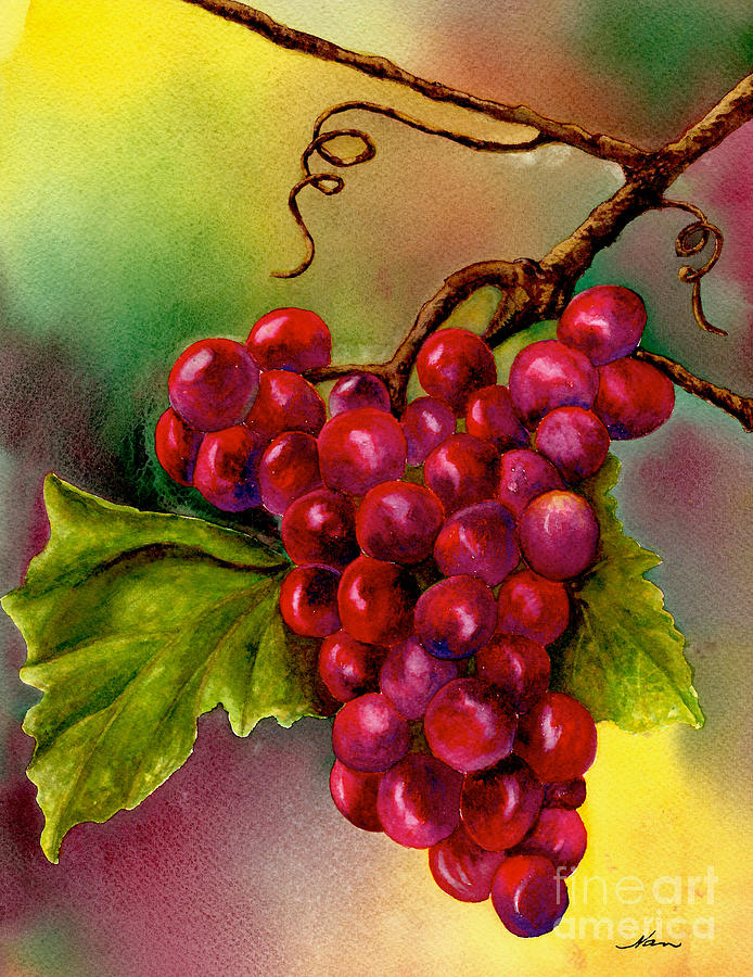 Grapes Painting - Grape Cluster by Nan Wright