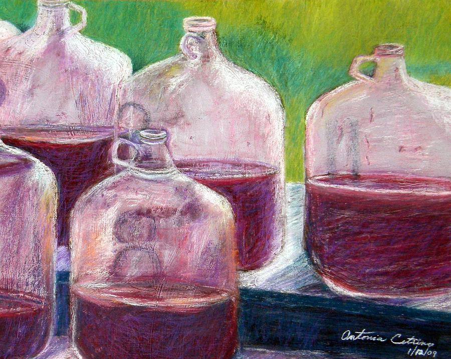 Wine Pastel - Grape Stomp Residuals Pastel by Antonia Citrino