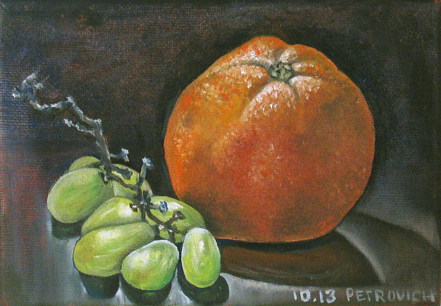 Still Life Painting - Grapes And Grapefruit by Petrovich