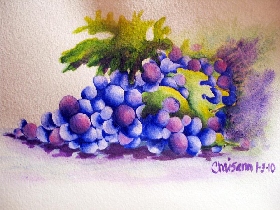 Watercolor Painting Painting - Grapes by Chrisann Ellis