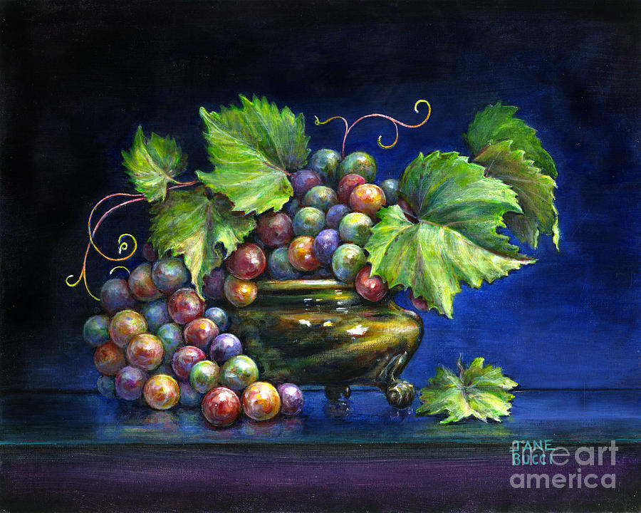 Still Life Painting - Grapes In A Footed Bowl by Jane Bucci