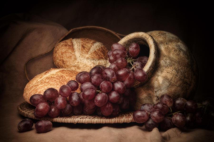 Bread Photograph - Grapes With Bread Still Life by Tom Mc Nemar