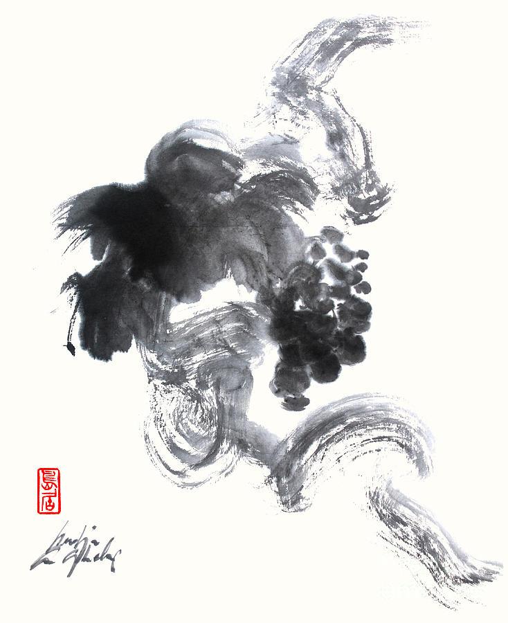 grapevine sumi painting in zen style painting by nadja van ghelue