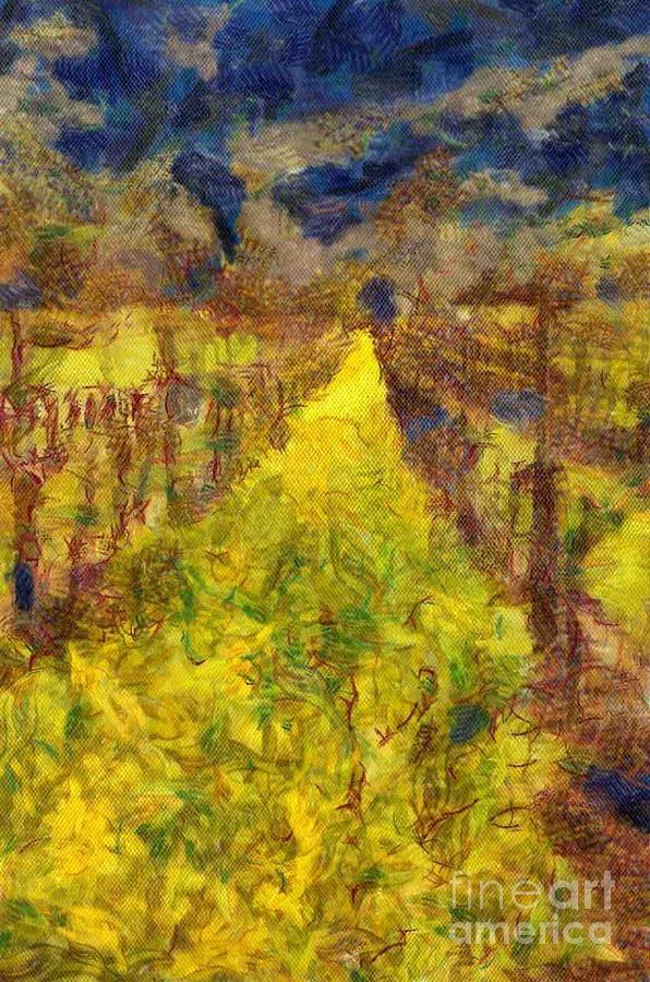 Winery Digital Art - Grapevines And Mustard by Alberta Brown Buller