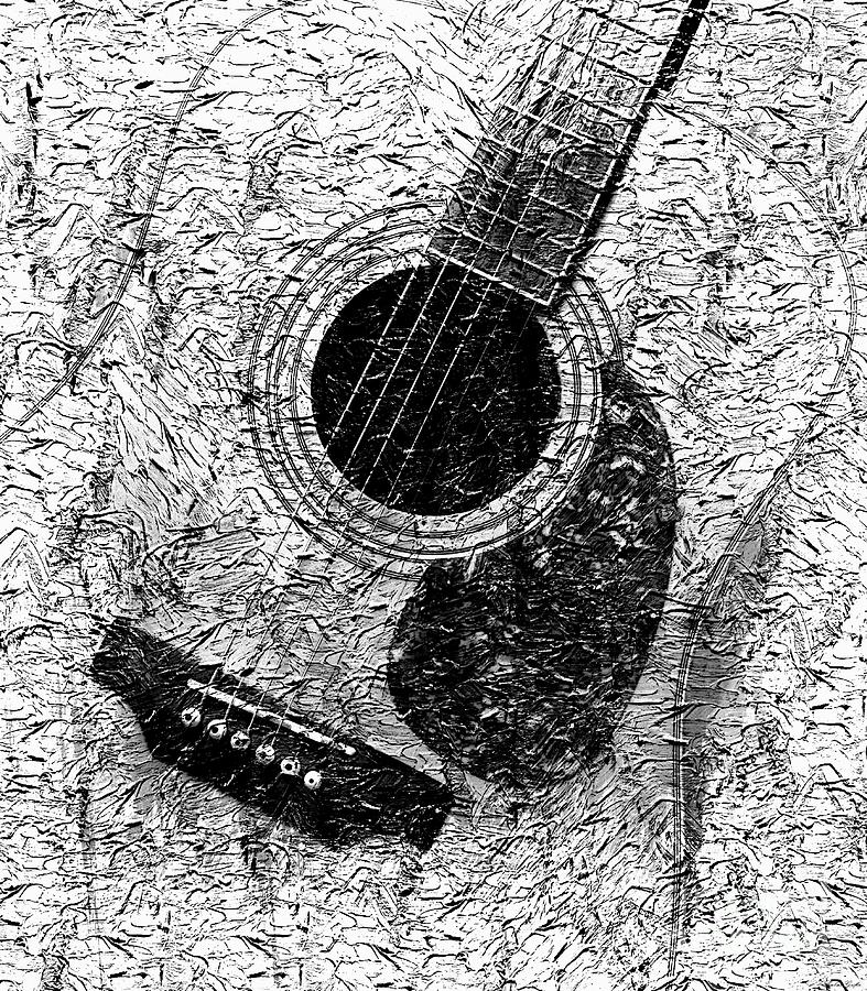Graphic guitar music black and white digital paint for White and black paintings