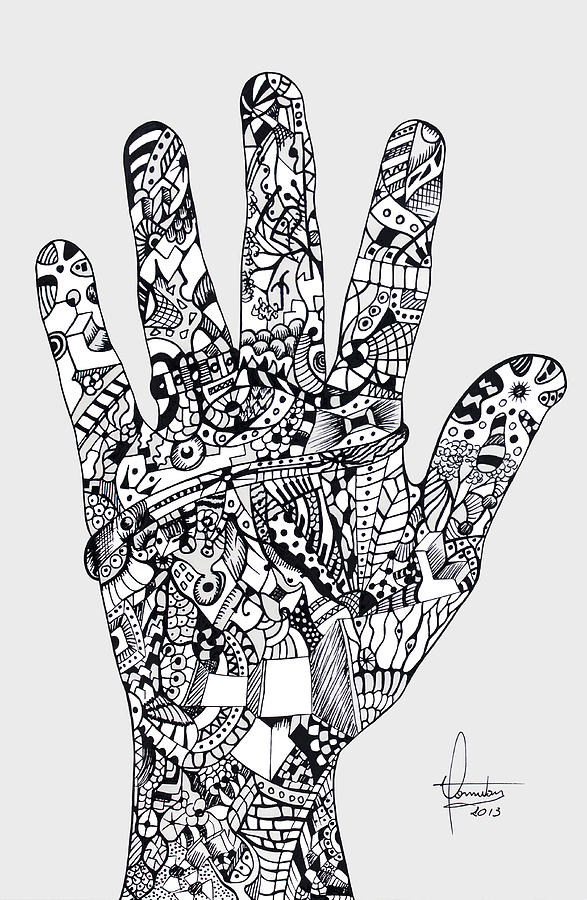 Drawing Mixed Media - Graphic Hand by Yomutan Simoes