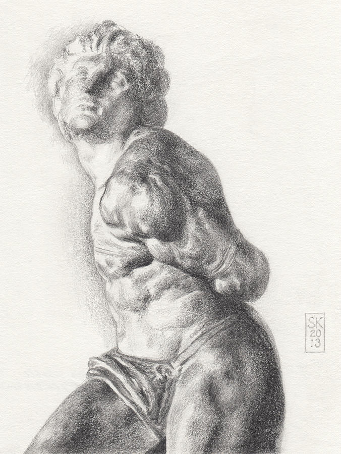 Male Drawing - Graphite Drawing Of The Rebellious Slave Sculpture By Michelangelo Buonarotti by Scott Kirkman