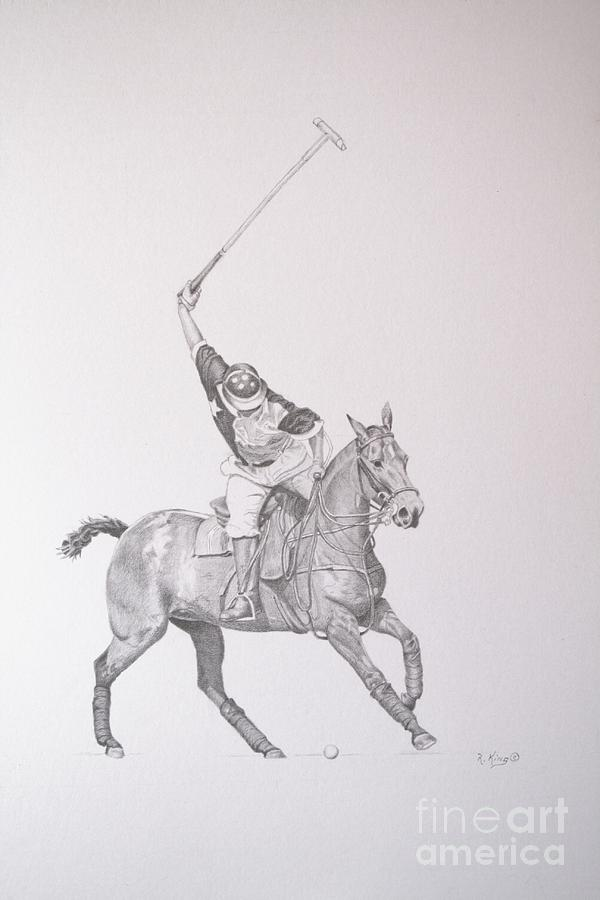 Polo Drawing - Graphite Drawing - Shooting For The Polo Goal by Roena King
