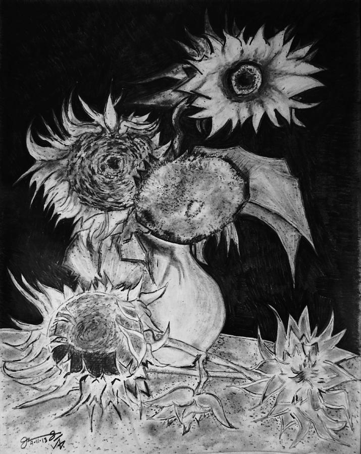 Graphite Pencil Replica Of Vincents Still Life Vase With 5 Sunflowers Drawing