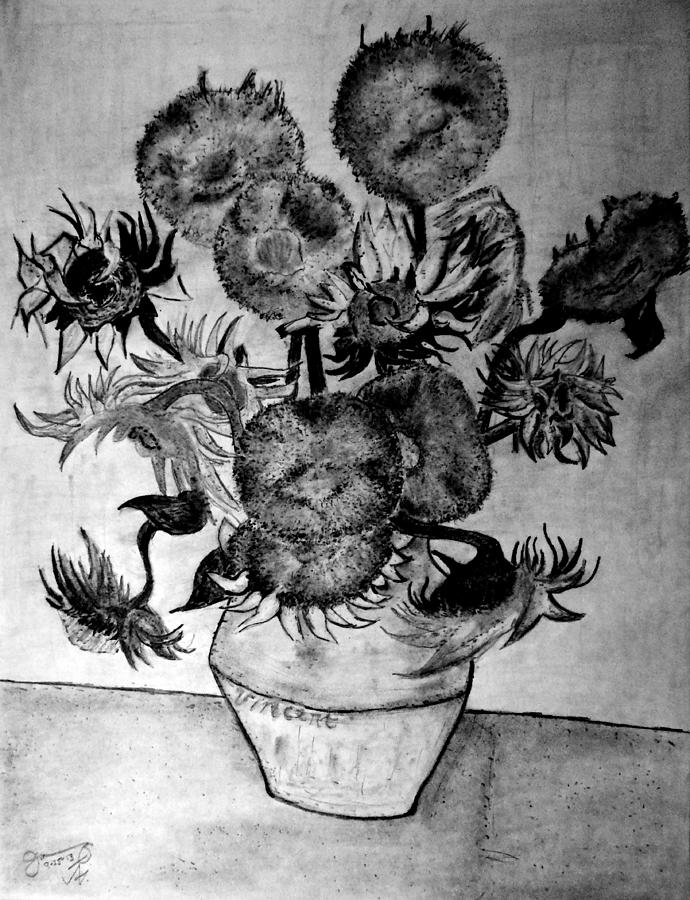 Graphite Pencil Replica Of Vincents Still Life Vase With Fifteen Sunflowers Drawing