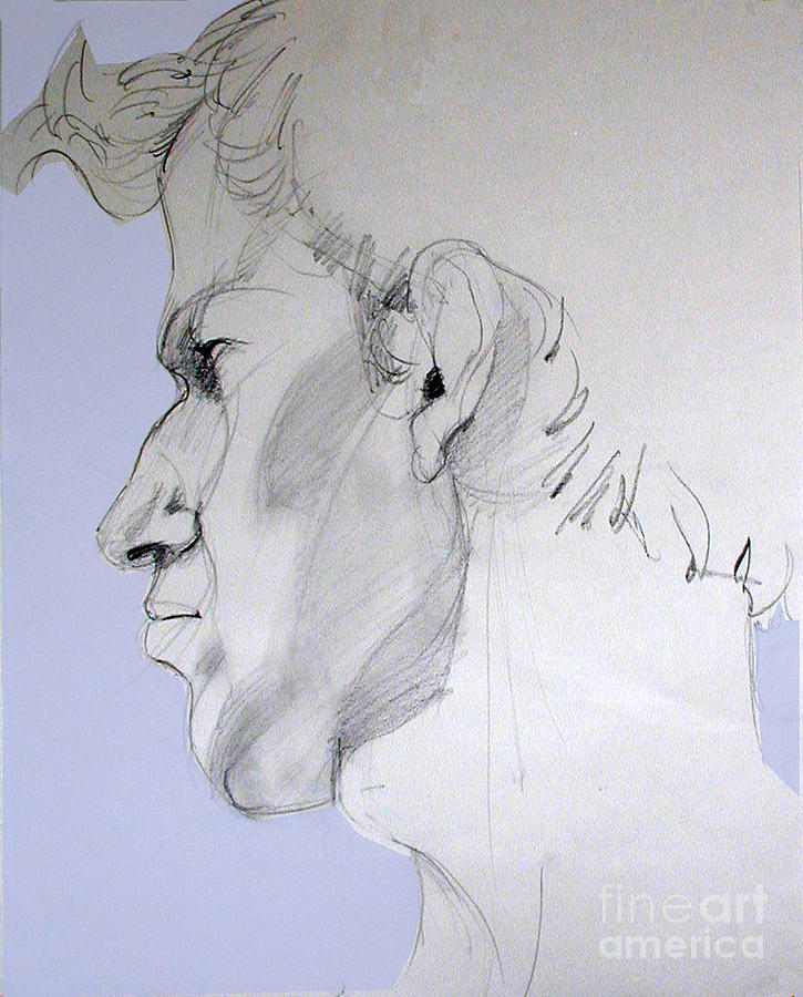 Graphite Portrait Sketch Of A Young Man In Profile Drawing