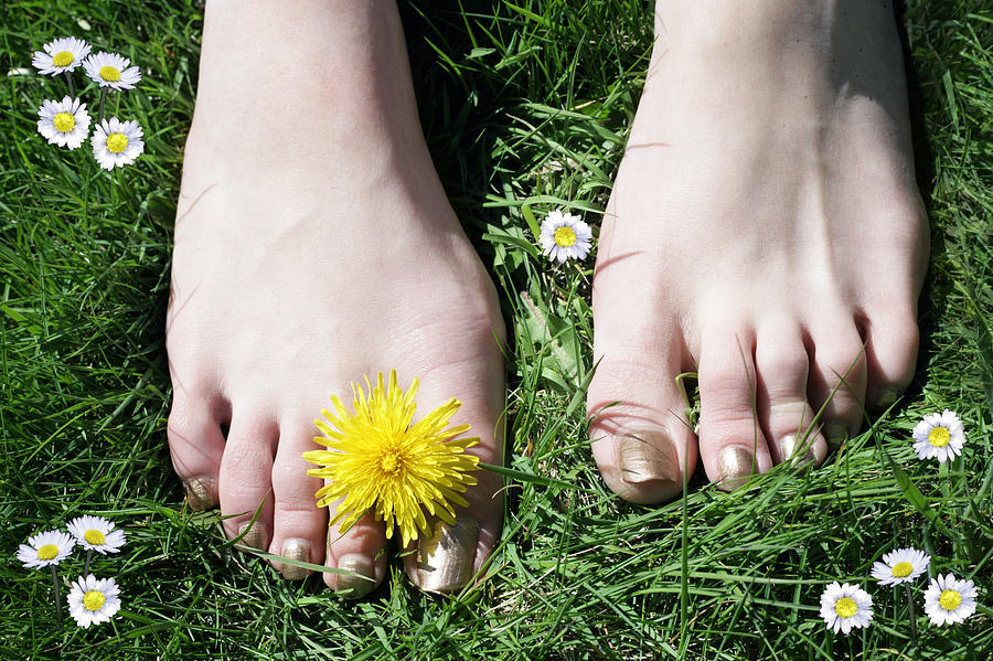 Feet Photograph - Grass Between My Toes by Stephen Norris