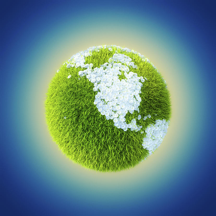 Grass Earth Globe With Flowers In Shape Photograph by Maciej Frolow