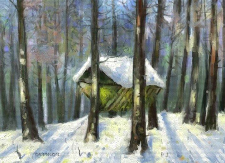 Winter Landscape Painting - Grass For Deer by Tancau Emanuel