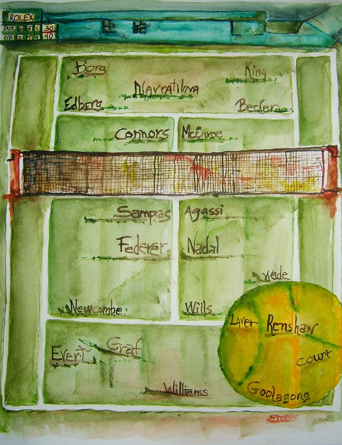 Tennis Painting - Grass Greats by Elaine Duras