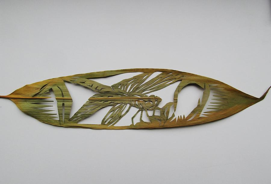Bamboo Leaf Mixed Media - Grasshopper On Bamboo Leaf by Alfred Ng