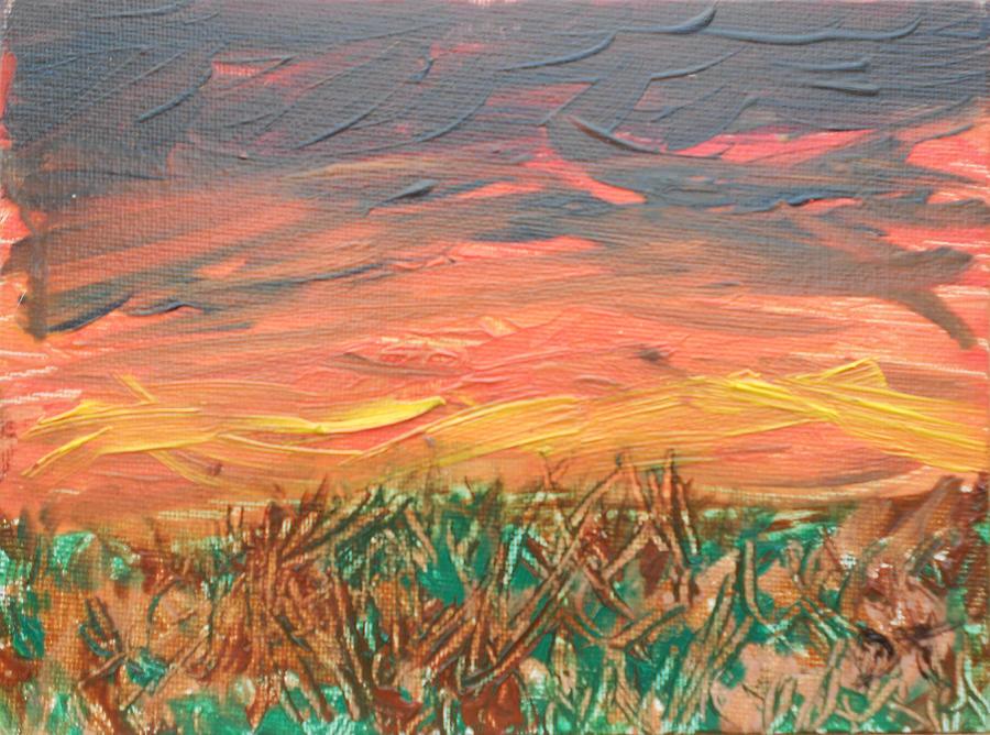 Grassland Sunset Painting