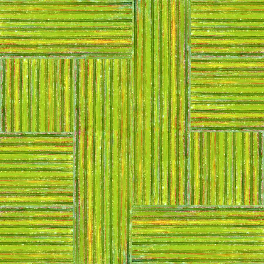 Textured Painting - Grassy Green Stripes by Michelle Calkins