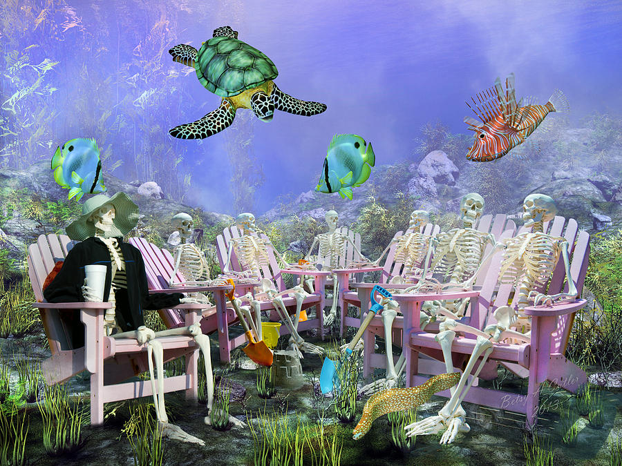 Skeletons Digital Art - Grateful Friends by Betsy Knapp