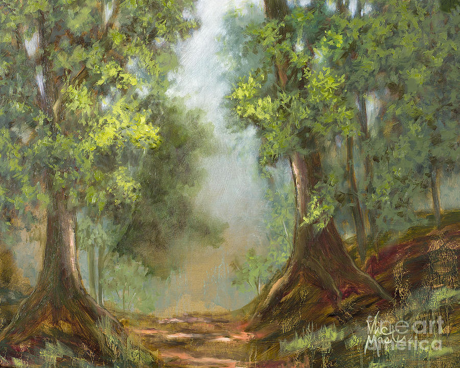 Woods Painting - Gratifying Exploring- Sq With Gold Leaf By Vic Mastis by Vic  Mastis