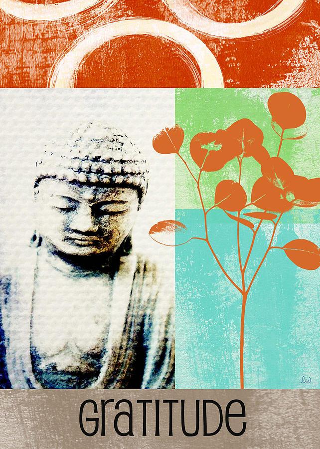 Buddha Card Painting - Gratitude Card- Zen Buddha by Linda Woods