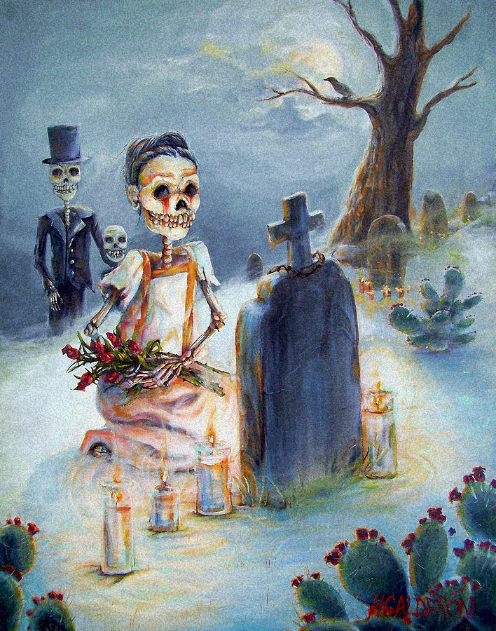 Skeletons Painting - Grave Sight by Heather Calderon