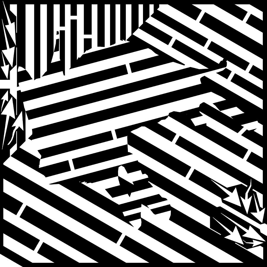 Maze Digital Art - Gravity Induced Cat Nap Maze by Yonatan Frimer Maze Artist