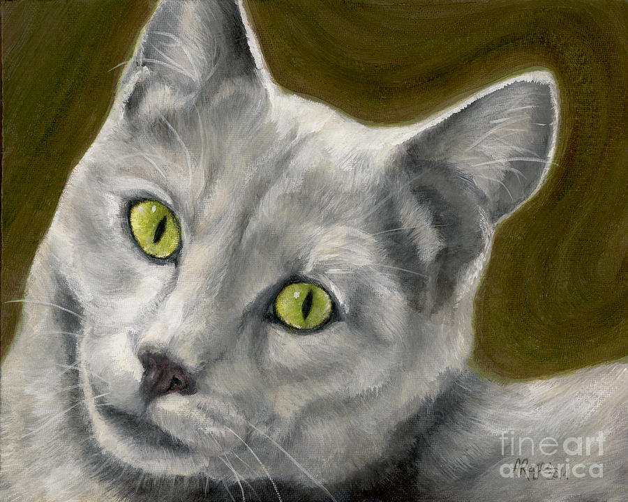 Cat Painting - Gray Cat With Green Eyes by Amy Reges