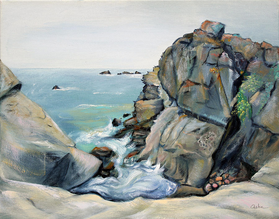 Oil On Canvas Painting - Gray Rocks And Sky At Gerstle Cove by Asha Carolyn Young