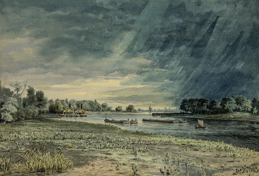 Watercolor Painting - Grays Ferry Circa 1858 by Aged Pixel