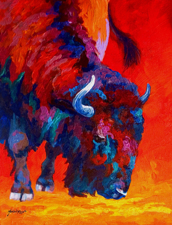 Bison Painting - Grazing Bison by Marion Rose