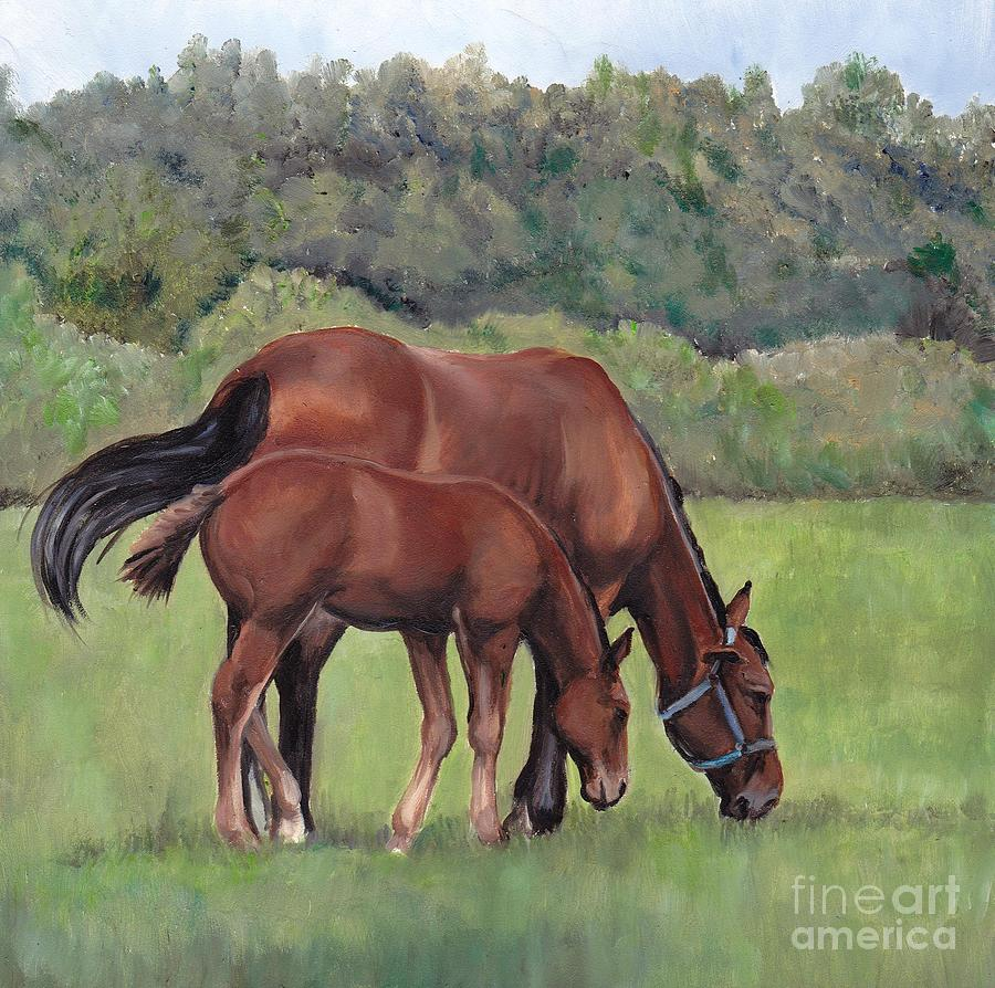 Horse Painting - Grazing by Charlotte Yealey