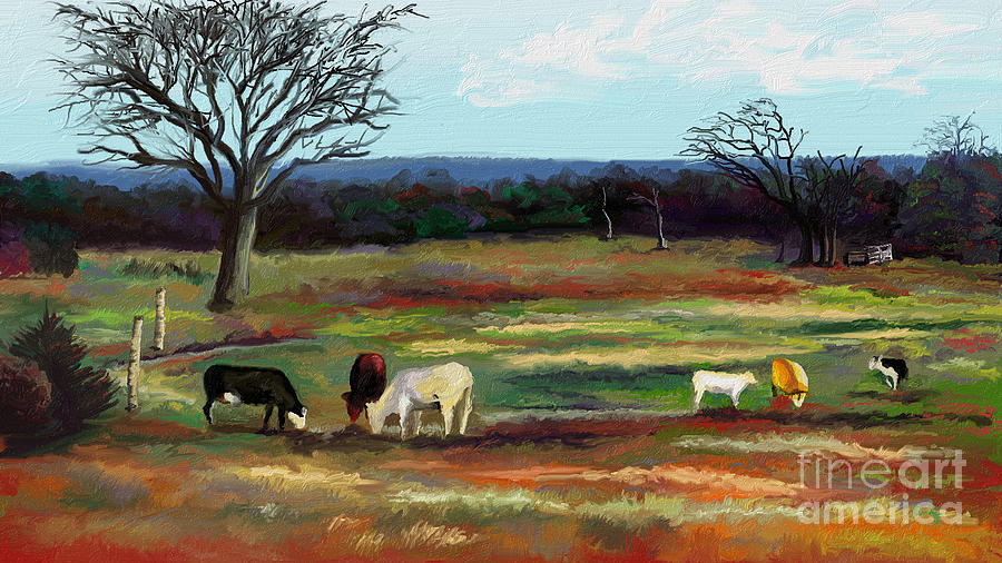 Tranquil Digital Art - Grazing In The Pasture by Sandra Aguirre