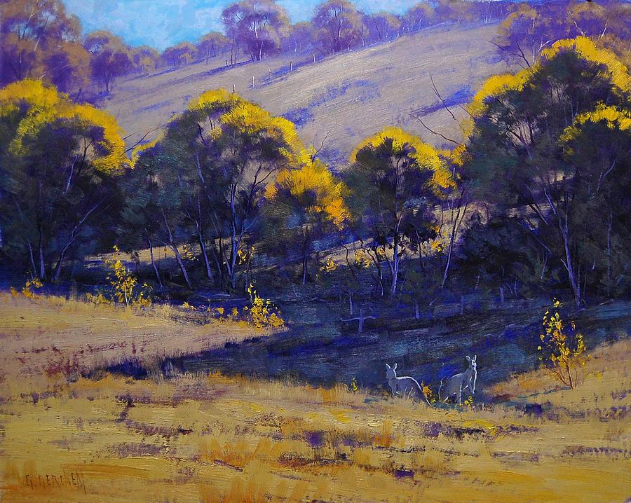 Rural Painting - Grazing Kangaroos by Graham Gercken