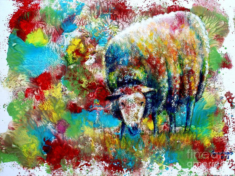 Sheep Painting - Grazing Sheep by Anastasis  Anastasi